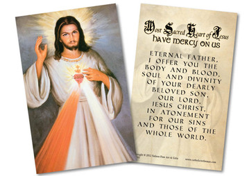 Divine Mercy with Sacred Heart Detail Holy Card