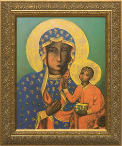 Our Lady of Czestochowa Canvas - Gold Framed Art