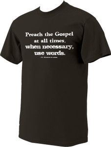 """Preach the Gospel"" St. Francis of Assisi Dark Brown T-Shirt"