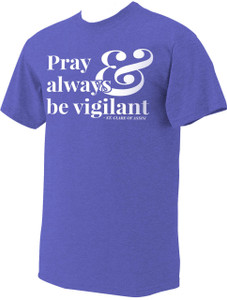 """Pray"" St. Clare of Assisi Heather Royal Blue T-Shirt"