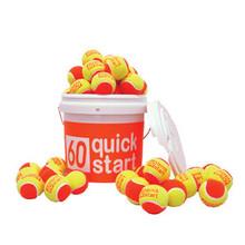 311703-QuickStart 60' Orange Felt Court Balls with logos - Two bucket sizes