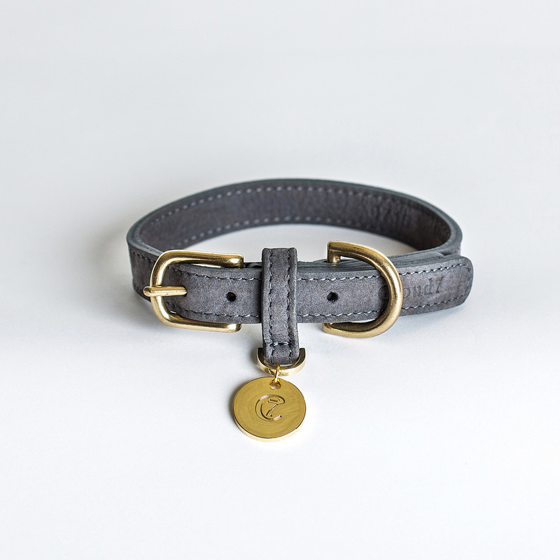 Dog Collar - Tiergarten Nubuck Grey Taupe Small www.hugoandotto.com