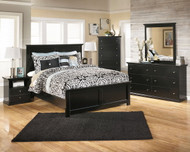 Maribel Black 6 Pc. Dresser, Mirror, Chest & Queen Panel Bed