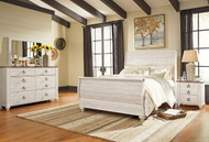 Willowton Whitewash 6 Pc. Dresser, Mirror, Queen Sleigh Bed & Nightstand