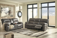 Dunwell Steel Power Reclining Sofa with Adjustable Headrest & Power Reclining Loveseat with CON/Adjustable Headrest