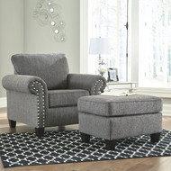Agleno Charcoal Chair with Ottoman