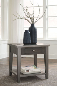 Branbury Gray Rectangular End Table