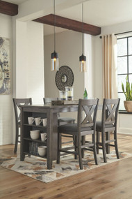 Caitbrook Dark Gray 5 Pc. RECT DRM Counter Table & 4 UPH Barstools