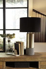 Jacek Gray/Brass Finish Metal Table Lamp