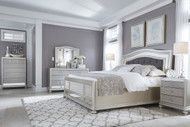 Coralayne Silver 5 Pc.California King Upholstered Panel Bedroom Collection