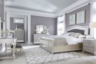 Coralayne Silver 11 Pc.King Upholstered Panel Vanity with StoolBedroom Collection