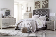 Coralayne Silver 5 Pc. King Upholstered Bedroom Collection