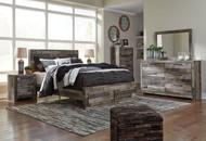 Derekson Multi Gray 6 Pc. Dresser, Mirror & Queen Storage Footboard Bed