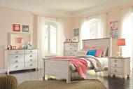 Willowton Whitewash 5 Pc. Full Sleigh Bedroom Collection