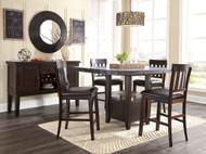 Haddigan Dark Brown Pc. Rectangular Extension Dining Set