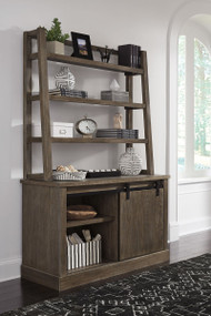 Luxenford Grayish Brown Large Credenza with Hutch