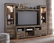 Trinell  Center Large TV Stand, 2 Tall Piers & Bridge