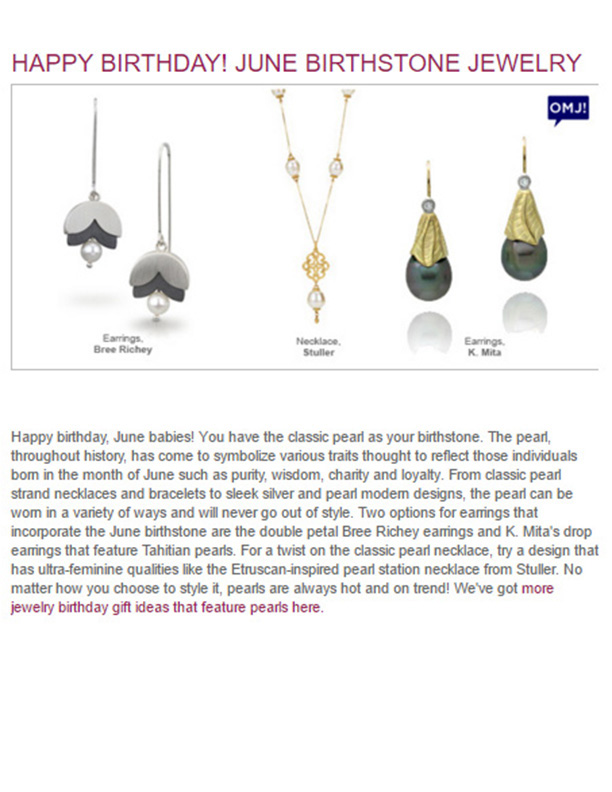 K.Mita's Tahitian Pearl Drop Earrings from her and Sand Dune Collection | JIC Blog: June Birthstone