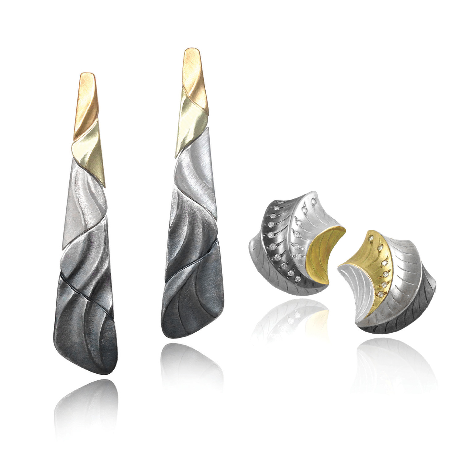 Ombre Earrings and Shell Shaped Earrings from K.Mita's Mixed Metal Sand Dune Collection