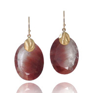 Oval Pebble Earrings, Unique Stone Earrings by K.Mita