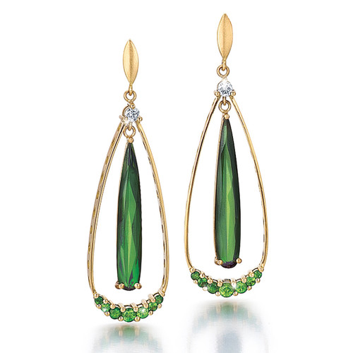Keiko Mita's Green Tear Drop Earrings from her Sunburst Collection