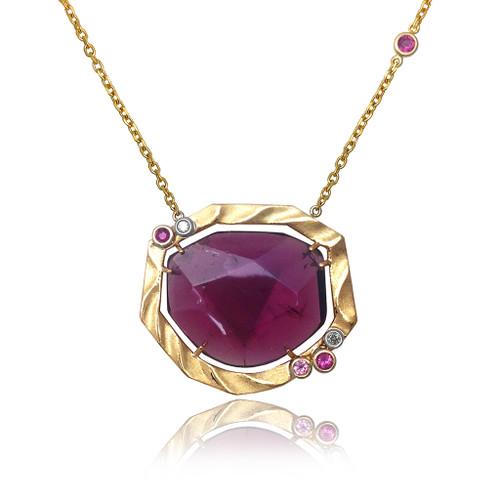 Golden Sweetbrier Pendant with 15ct Pink Tourmaline, Fine Art Jewelry by K. Mita