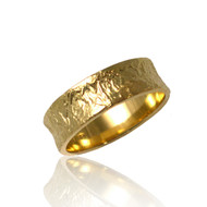 Washi Concaved Ring by K.Mita, Textured Band Ring