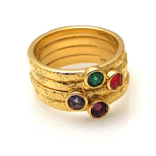 Washi Stackable Rings by K.Mita, Textured Gold Ring