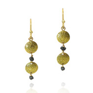 Double Disk Earrings by K. Mita, Textured Gold Earrings