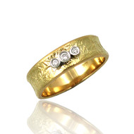 Washi Three Stones Concaved Ring by K. Mita, Textured Gold Band
