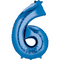 "35"" Decorator Number 6 Balloon - Blue P50"