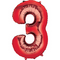 """35"""" Decorator Number 3 Balloon - Red P50"""