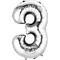 "35"" Decorator Number 3 Balloon - Silver P50"