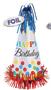 "250446 B13"" Bright Birthday Large Cone Hat w/Foil Fringe"