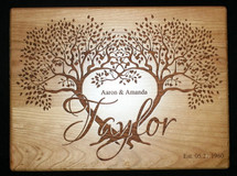 Custom Cutting Board Personalized Wedding Cutting Board , Wedding Gift with 2 Trees that form a Heart - Anniversary Gift, Established Date