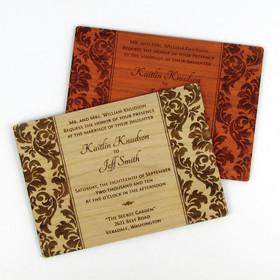"""Elegant Damask"" Solid Wood Invitation"