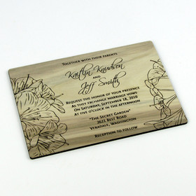 """Floral Sketch"" Solid Wood Invitation"