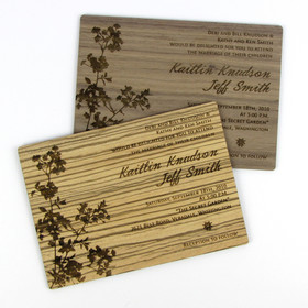 """Modern Blossom"" Solid Wood Invitation"