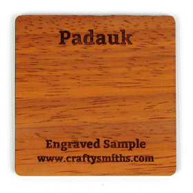 Padauk - Tier 4 Exotic Hardwood - Engraved Sample Chip