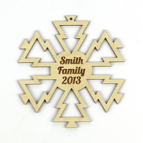 """Christmas Trees"" Personalized Wood Snowflake Ornament"