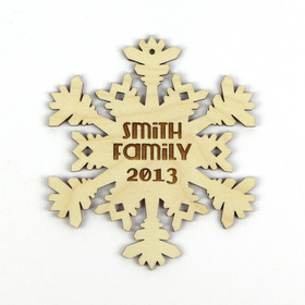 """Icy Blast"" Personalized Wood Snowflake Ornament"