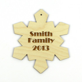 """Icy Geometry"" Personalized Wood Snowflake Ornament"