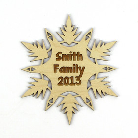 """Phoenix"" Personalized Wood Snowflake Ornament"