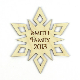"""Star"" Personalized Wood Snowflake Ornament"