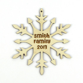 """Water Wheel"" Personalized Wood Snowflake Ornament"
