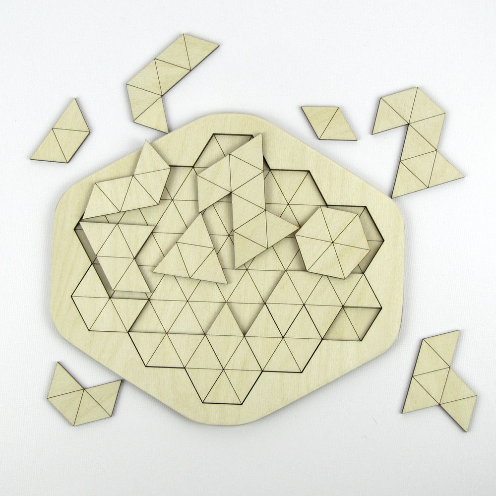 Geometric Triangles Laser Cut Wooden Puzzle The Crafty