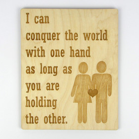 """Holding My Other Hand"" Wood Sign"