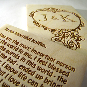 Scrolled Initials Keepsake Sign with Optional Message on Back