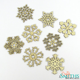 2012 Collection 1 - Set of 8 Birch Wood Snowflakes