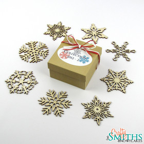 2012 Collection 2 Boxed Set of 8 Birch Wood Snowflakes